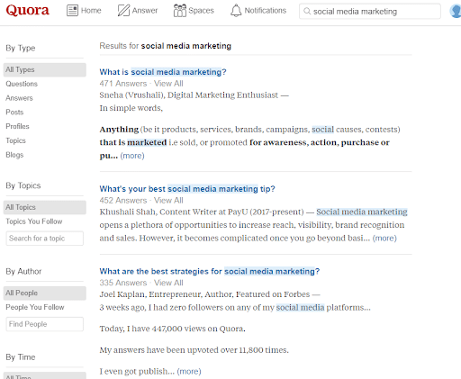 using Quora for blog topic ideas